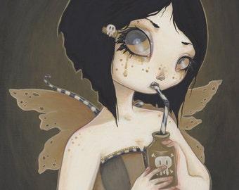 GOTHIC Fairy print-  poison goth fine art giclee fantasy lowbrow -toxic