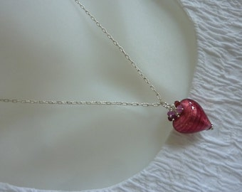 Heart necklace, authentic gems & Venetian glass, sterling silver, classic, fine jewelry, artisan quality