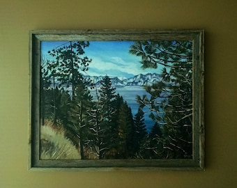Lake Tahoe California Landscape Painting- 28x22in On Sale