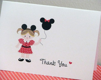 Mouse Girl Thank You Cards RED and BLACK