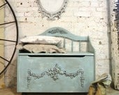 Painted Cottage Shabby Aqua Romantic Hope Chest / Toy Box