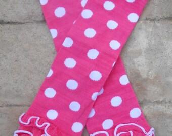 Hot pink  and  white dot  ruffled Leg Warmers baby toddler girls ruffles dots Spring Summer