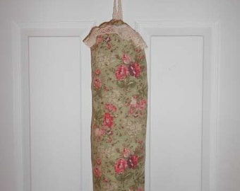 Bag Stuffer - Plastic Bag Holder - Shabby Chick Dusty Green and Pink Floral FREE SHIPPING
