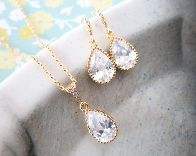 Suzette - Cubic Zirconia Teardrop Jewelry Set, Wedding Bridal Bridesmaid Earrings Necklace, Cubic Zirconia Earrings, gold gift for her