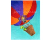 Tortoise in a Hot Air Balloon Art Print Absurd Animal Illustration turtle aircraft ATC ACEO Funny Greeting Card Silver Pendant dirigible pun