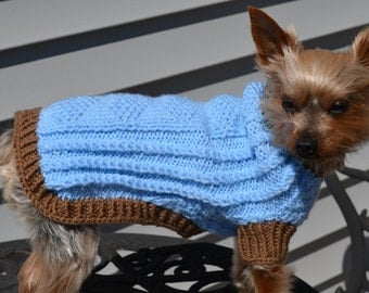 Dog Sweater Blue Ocean Hand knit - Small