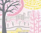 Sunny Central Park - NYC Kids Print - Manhattan Wall Decor - Girls Room Decor -Nursery Decor -NYC Baby Decor -Baby Shower Gift -Nursery Gift