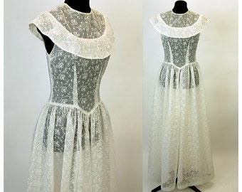 1940s wedding dress, organza dress, white eyelet dress, Broderie Anglaise, sheer dress, full length , portrait collar, drop waist, Size S/M