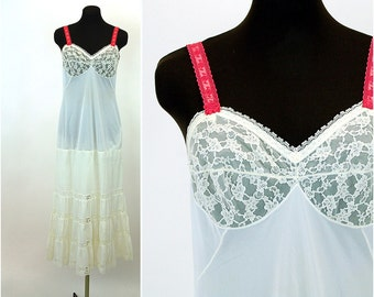 Vintage slip, upcycled slip, long slip, lace inserts, tiered ruffles, Size 34, Bridal slip, 1950s 50s
