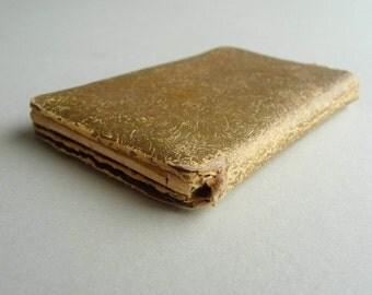 Gold Paper Pocket Mirror. Purse-Size Fragile Antique.