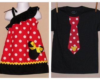 Disney Brother Sister Set - Girl Boy -Dress and Tie Shirt - Red Black Polka Dot Yellow -Perfect for Sping Summer Disney Trips