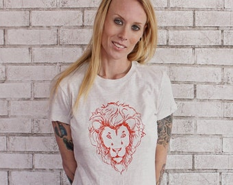 Lion Tshirt, Screenprinted Womens Shirt, Fitted Ladies Top, Hand Printed, Zoo Animal, Circus, Safari, Leo, Oatmeal Cream, King of the Jungle
