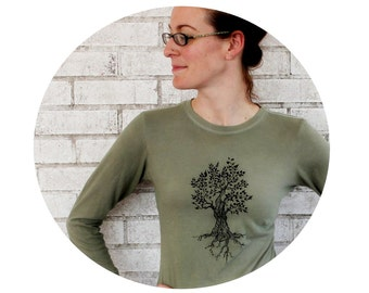 Long Sleeved Tree Tshirt, Cotton crewneck ladies tee shirt, olive drab or custom colors
