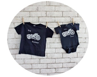 Motorcycle Tshirts, Big Brother Little Brother Set, navy blue, Cotton, Big Sister, Little Sister
