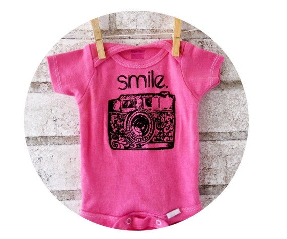 """35 MM """"Smile"""" Camera Baby Onepiece, Photography, Cotton Snapsuit, Infant Creeper, One Piece Bodysuit, Shower Gift, Photographer hand printed"""