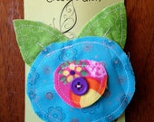 bright blue fabric flower clip