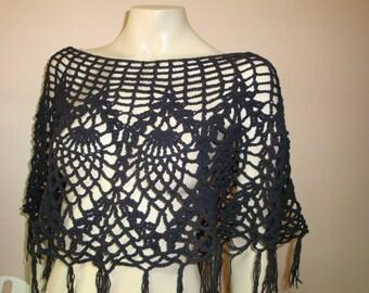 black summer crochet shawl
