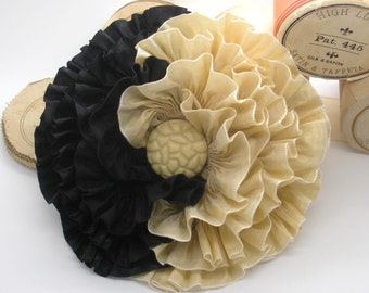 Gold and Black Millinery Flower Applique Yin Yang