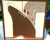 Vintage Stromma Sweden By Frances Butler Normandie Ship Tapestry