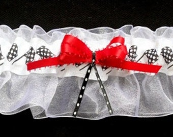NASCAR Inspired Checkered Flags Bridal Garter, Can Be Personalized
