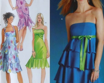 Tiered Dress Sewing Pattern UNCUT Simplicity 0546 Sizes 4-10 flounce
