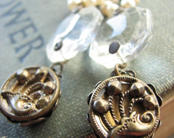 Antique Button Assemblage Chandelier Earrings –repurposed buttons, vintage inspired, elegant, statement