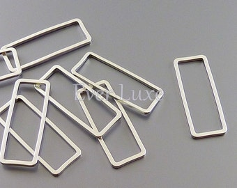 4 abstract rectangle shape 24mm brass charms, matte silver bar rectangles 1011-MR-24