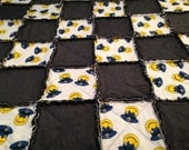 "Police Officer Rag Quilt Throw Blue Yellow and White Retro Happy Face Large 60"" x 51"" One of a Kind Ready to Ship"