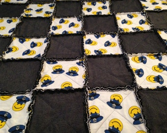 """Police Officer Rag Quilt Throw Blue Yellow and White Retro Happy Face Large 60"""" x 51"""" One of a Kind Ready to Ship"""