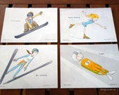 Winter Sport Postcards (set of 4)