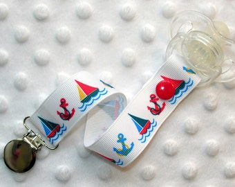 Sailboat Pacifier Clip Soothie Holder