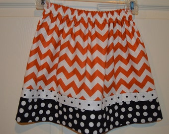 Chevron and Polka Dot Burnt Orange Skirt