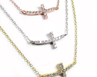 Tiny CZ Curved Sideways Cross Necklace, Cubic Zirconia Horizontal cross - Your choice of metals