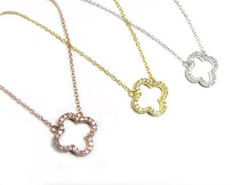 CZ Clover Necklace-- Sterling Silver, Gold Vermeil or Rose Gold Vermeil
