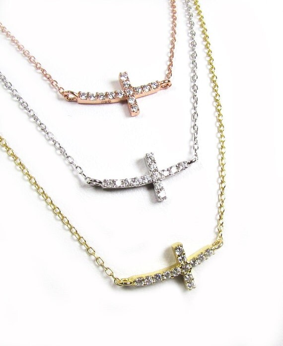 Sideways Curved Cross Necklace: Items Similar To Tiny CZ Curved Sideways Cross Necklace