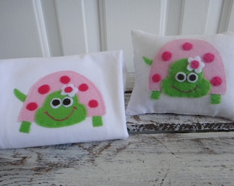 Pink and Green Turtle T shirt and Tooth Fairy Pillow gift set for baby girl