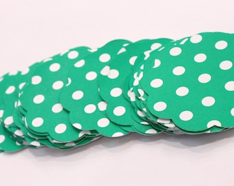 50 Scallop Tags Christmas Green Polka Dot Gift Tag 2 inch READY TO SHIP Scrapbooking Journaling Spots Supply Thank you Card Stock Die Cut