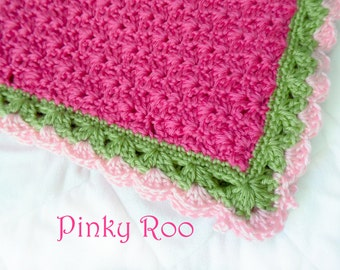 Crochet Baby blanket in hot Pink, green and light pink