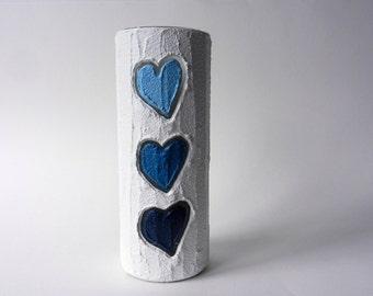 White Vase / 9 inch vase /  white home decor / blue hearts / blue heart vase / blue love / navy blue and white