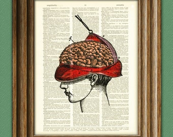 Brain Peel human brain surgery anatomy awesome upcycled vintage dictionary page book art print