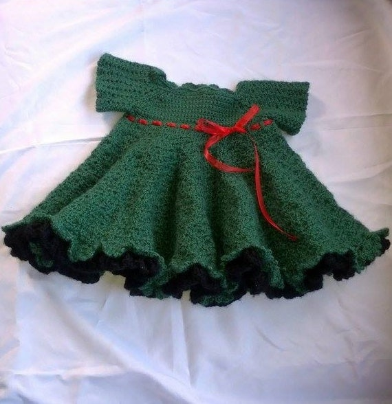 Crochet Newborn Christmas Dress Haylin's Twirls in Green with Black Ruffles Accented with Red Ribbon Christmas Keepsake Baby Shower Gift