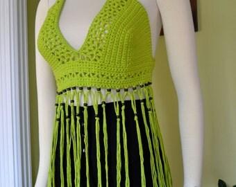 Crochet Fringe Halter Top / Beaded Festival Top / Gypsy Hippie  SALE