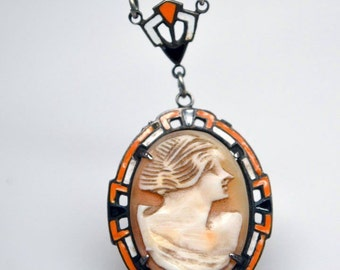 RARE Art Deco Carved Coral Shell Cameo Hand Painted Enamel Sterling Silver Vintage Necklace Art Deco Jewelry