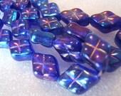 Czech Glass Puffed Diamonds in Cobalt AB Beads