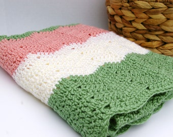 Crochet Baby Blanket Crochet Baby Afghan in Peach, Cream and Green Crochet