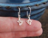 Tiny dove charm earrings in sterling silver, bird earrings, sterling silver dove, bird charm, sterling silver bird, dove earrings