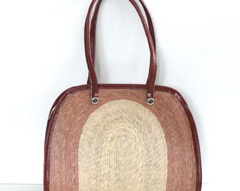 Vintage Woven Straw Beach Tote