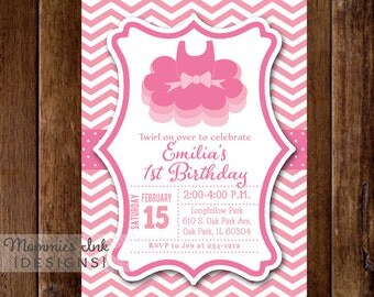 Pink Chevron Ballet Tutu Birthday Invitation - Ballerina Party - Ballet Invite - Ballet Party - Girl's Birthday - Printable Invi