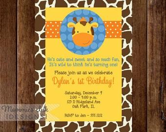 Boy Giraffe First Birthday Party Invitation - PRINTABLE INVITATION DESIGN