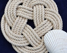 Nautical Trivet Woven Turks Head Hotplate Natural Cotton